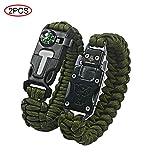 Ovtai Paracord Bracelet, 5 en 1 Kits de Survie d'urgence, avec Fire Starter, Boussole,...