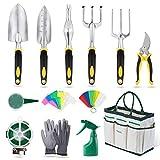 YISSVIC Outils de Jardinage 12 Pièces Outils de Jardin avec Sac de Rangement, Arrosoir, Gants de...